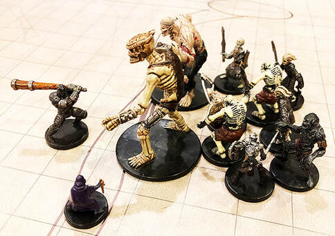 Thun and Arwyn engage the undead horde head on (Dungeons and Dragons miniatures)